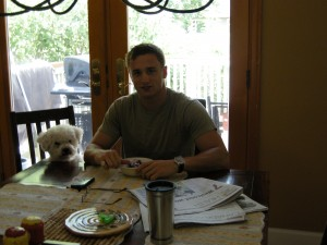 Me and my dog enjoying a meal together.