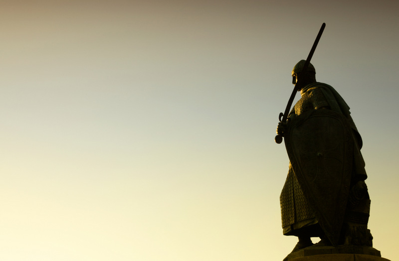 Silhouette of Afonso Henriques statue in Guimaraes Portugal. Eur